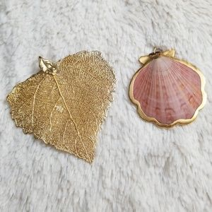 Jewelry - Gold leaf and shell pendant